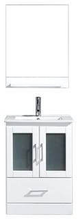 "Virtu USA Zola 24"" Single Square Sink White Top Vanity In White With Brushed ..."