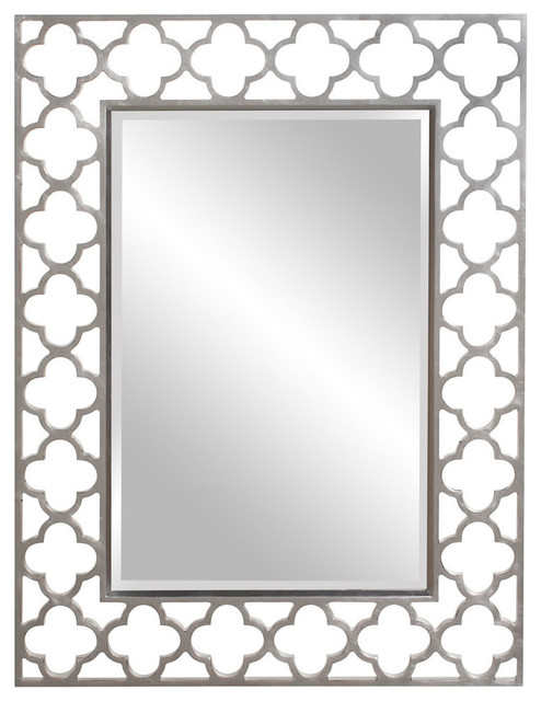 Gaelic Rectangular Brushed Nickel Mirror.