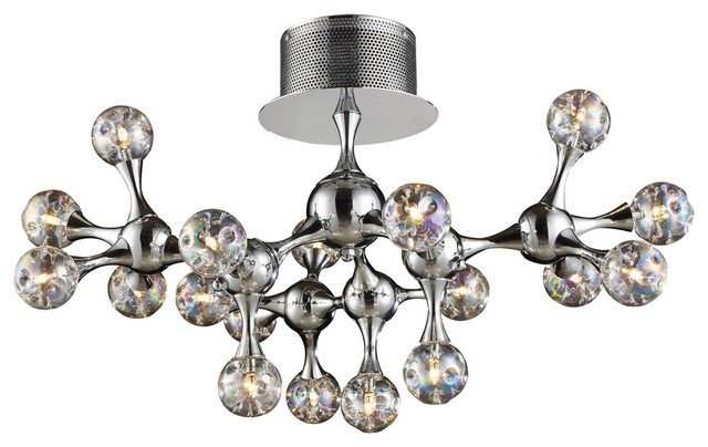 Molecular 18-Light Semi Flush, Chrome And Iridescent Glass.