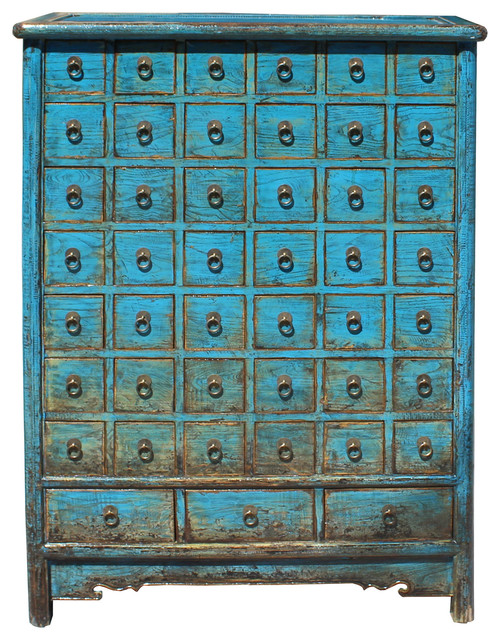 Chinese Distressed Bright Blue 45 Drawers Medicine Apothecary Cabinet  Hcs4134