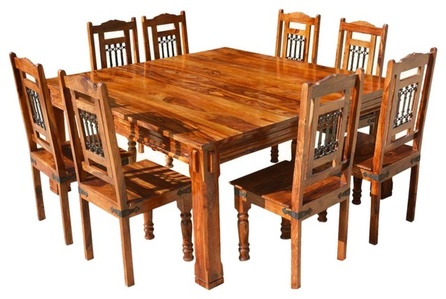 Solid Wood Rustic 9 Piece Square Dining Table Chairs Set