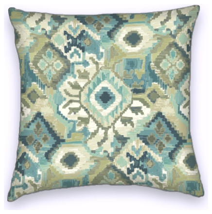 Southwestern Throw Pillows For Couch : Green Blue Southwestern Style Cotton Decorative Throw Pillow Cover - Southwestern - Decorative ...