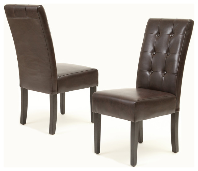 Addison Brown Leather Dining Chairs Set Of 2