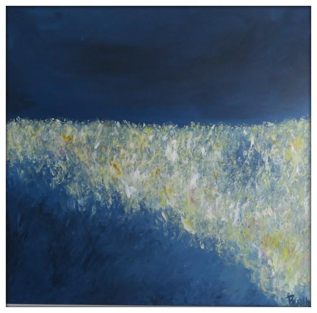 Abstract Landscape Modern Minimalist Acrylic Painting on Canvas - 36x36 Yellow