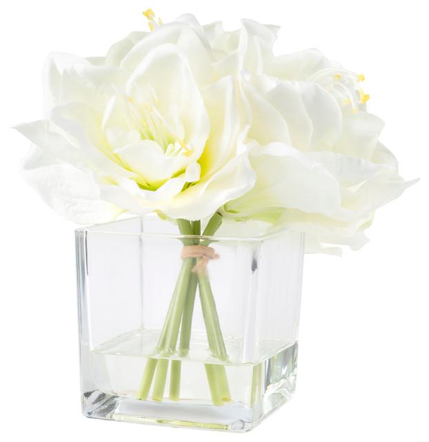 Pure Garden Lily Floral Arrangement With Glass Vase Cream
