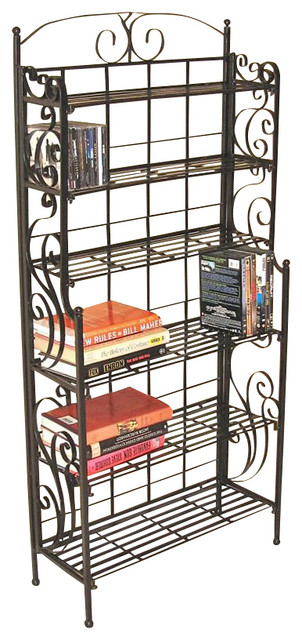 International Caravan 6-Shelf Large Iron Cd/dvd Storage.