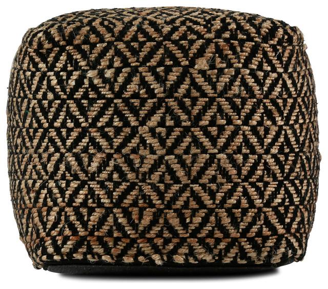 Est Cotton And Jute Pouf Cover, Charcoal.