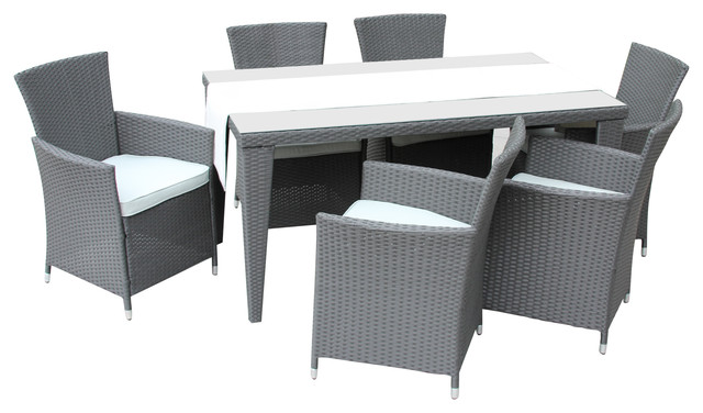 7 Pc Outdoor All Weather Wicker Rattan Dining Set Gray Tropical
