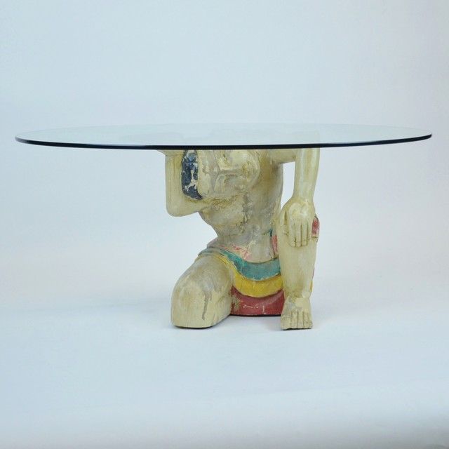 Hand Carved Painted Balinese Indonesian Figural Coffee Table W Glass Top