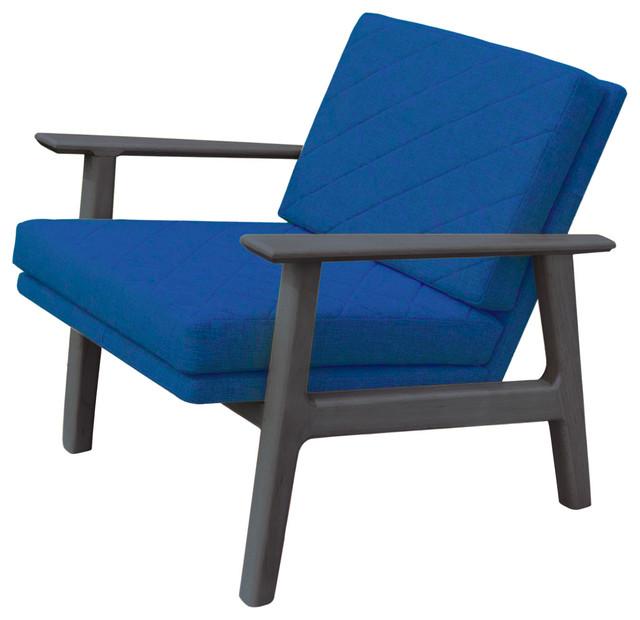 Magnificent Mid Century Modern Handcrafted Danish Lounge Chair Bright Blue Dark Wood Tone Machost Co Dining Chair Design Ideas Machostcouk