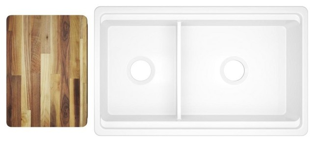 """Elkay SWUF3320WH Fireclay 33"""" Double Bowl Farmhouse Sink White With Aqua Divide"""