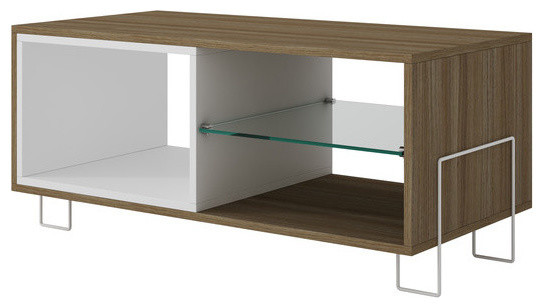 """Manhattan Comfort Boden 35.43"""" Tv Stand With 3 Shelves, White And Oak."""