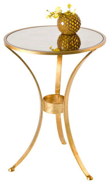 Worlds Away 3 Leg Round Table With Antique Mirror Top Fnpl