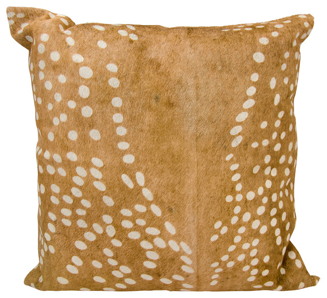 Mina Victory Natural Leather Hide Axis Deer Print Brown Throw Pillow.