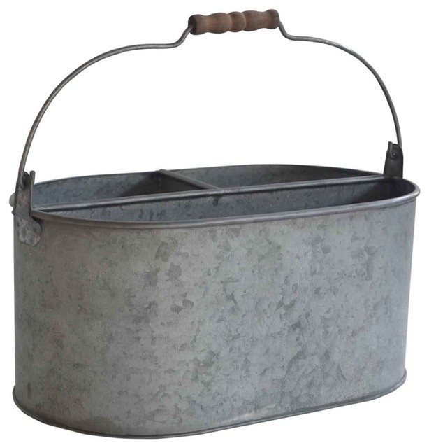 Galvanized Metal Garden Caddy Industrial Gardening Accessories