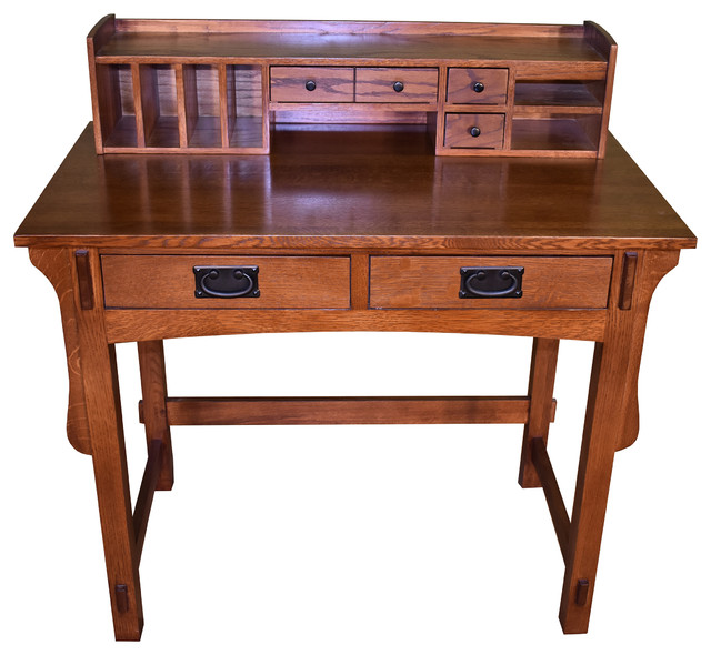 Mission Quarter Sawn Oak Desk With 2 Drawers And Storage
