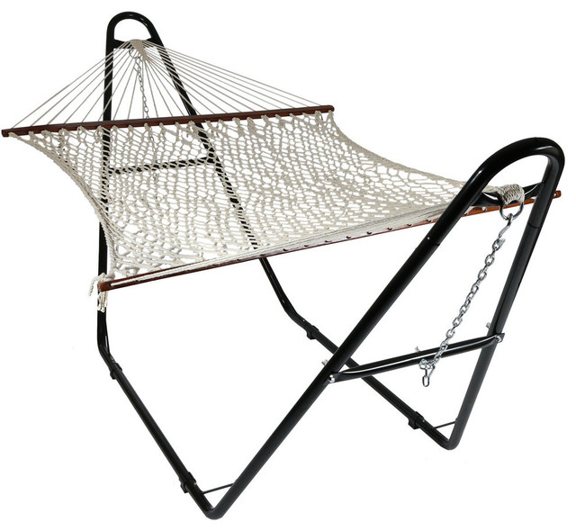 Sunnydaze Cotton Double Wide 2 Person Rope Hammock With Spreader Bars