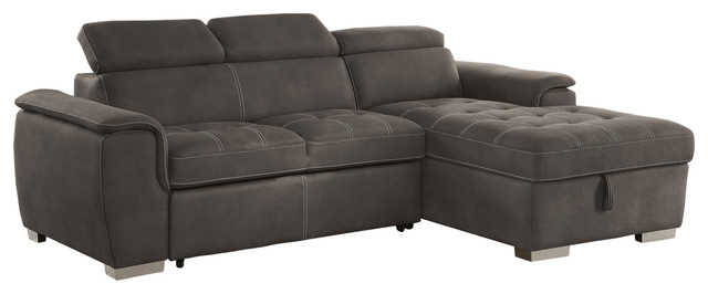 Metro Pullout Sleeper Sectional With Storage, Taupe Gray.