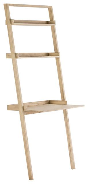 Ladder Wooden Desk With Shelving, Whitewash