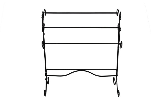 Spacious Metal Blanket Rack With Three Bars, Black.