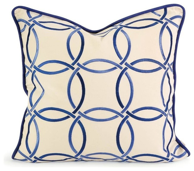 Ik Catina Blue Embroidered Linen Pillow With Down Fill.