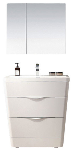 "Fresca Milano 32"" Glossy White Modern Bathroom Vanity With Medicine Cabinet."