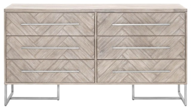 Orient Express Traditions Mosaic Double Dresser In Natural Gray.