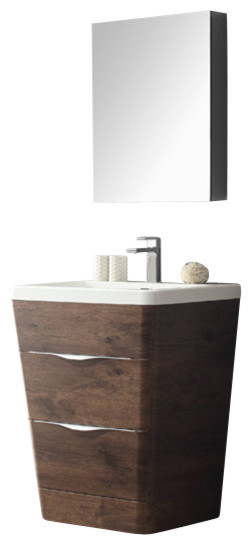 "26"" Rosewood Modern Bathroom Vanity, Medicine Cabinet, Fiora Chrome Faucet."
