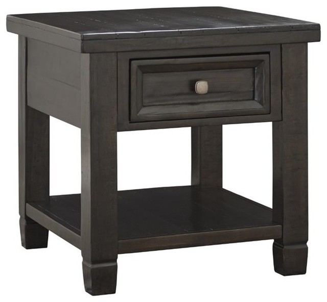 Ashley Townser End Table, Grayish Brown Transitional Side Tables And End