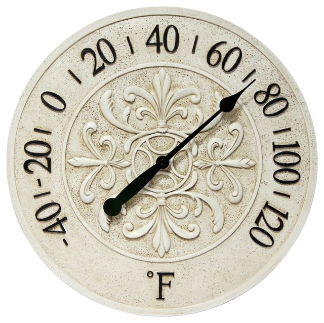 Blanc Fleur Indoor/outdoor Wall Thermometer, 15""