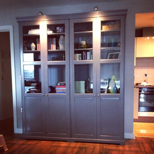 ikea liatorp grey bookcase with half glass doors. Black Bedroom Furniture Sets. Home Design Ideas