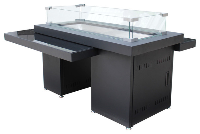 AZ Patio Heaters 2 Tier Fire Table With Glass Top