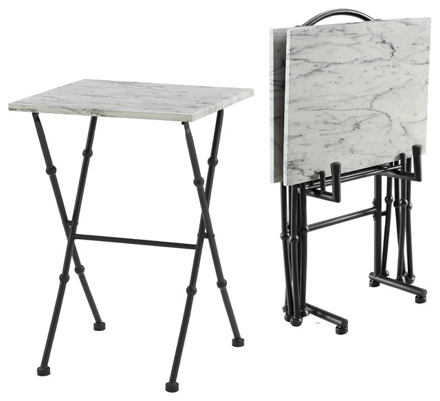 Awesome Kildare Four Piece Marble Tray Table Set Folding With Tv Tables