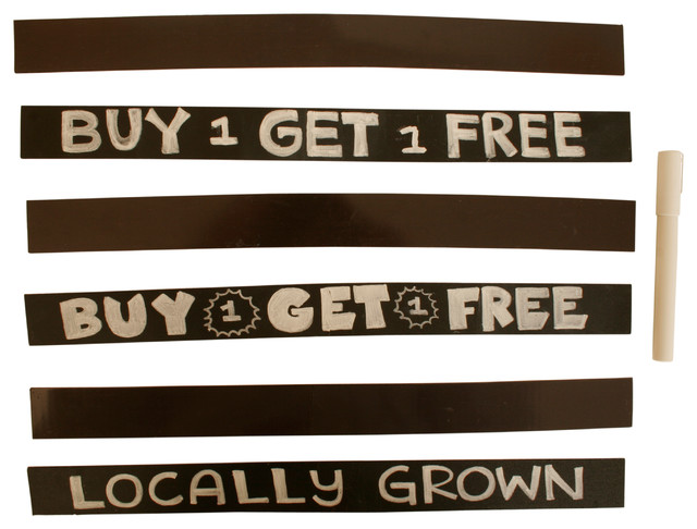 Wald Imports Black Metal Magnetic Chalkboard Strips With Pen, Set Of 6. -1