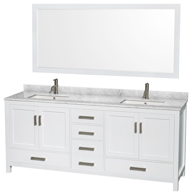 """Sheffield 80"""" White Double Vanity, Carrera Marble Top, Undermount Square Sink."""