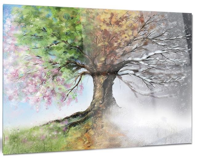 Tree With Four Seasons Tree Painting Glossy Metal Wall Art 40 X30