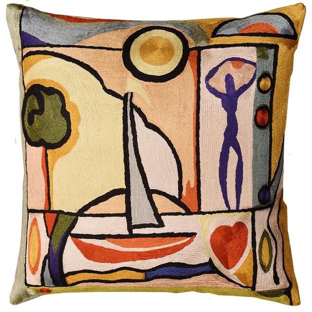 "Fun In The Sun Ii By Alfred Gockel Accent Pillow Cover Handmade Art Silk 18""x18""."