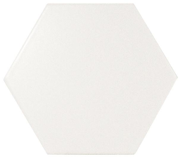 Evolution Hexagon Ceramic Subway Wall Tile, Sample, White Matte