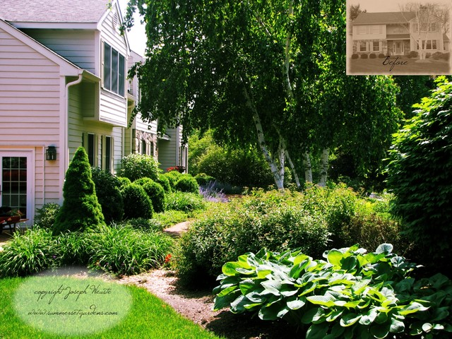front yard plantings  brick walkway  traditional  landscape, Natural flower