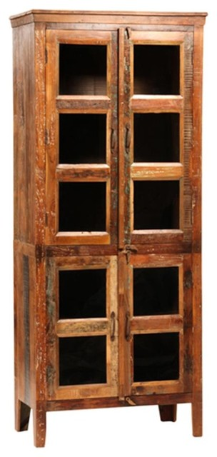 Reclaimed Wood Glass Display Cabinet