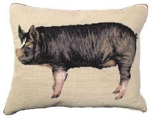 Berkshire Pig Needlepoint Down Pillow.