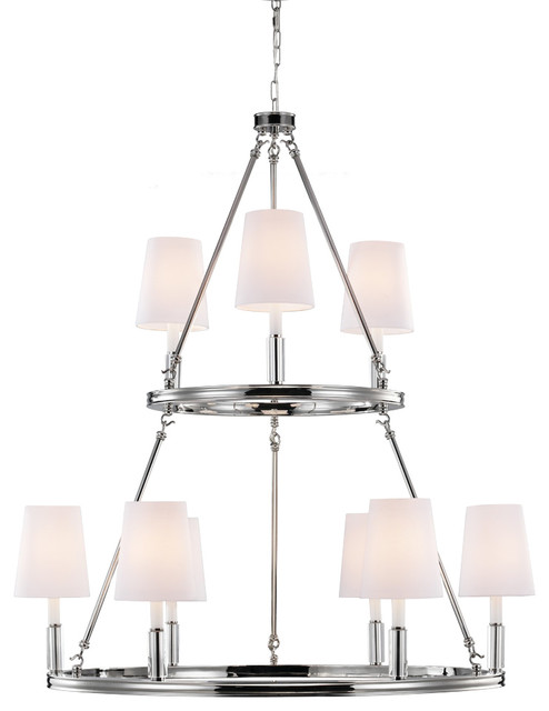 Lismore 9-Light Lismore Chandelier Polished Nickel With WhiteFabric