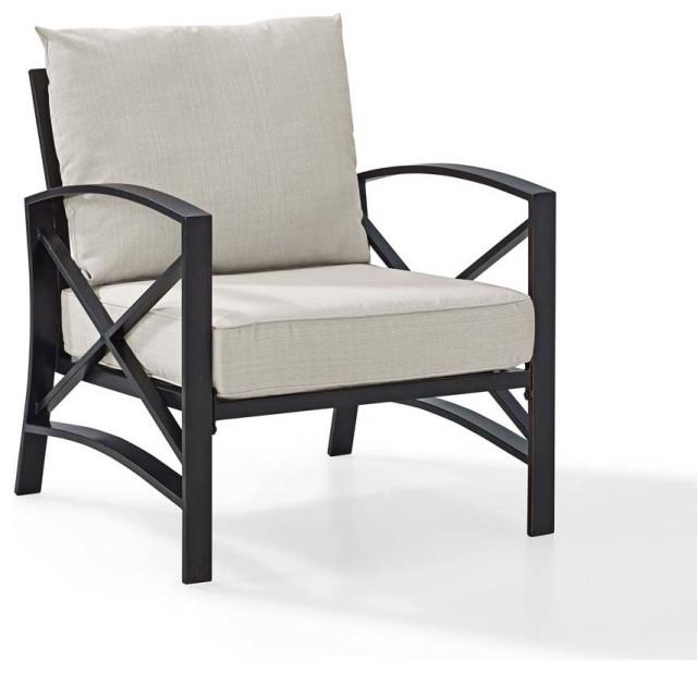Kaplan Arm Chair, Oiled Bronze, Oatmeal