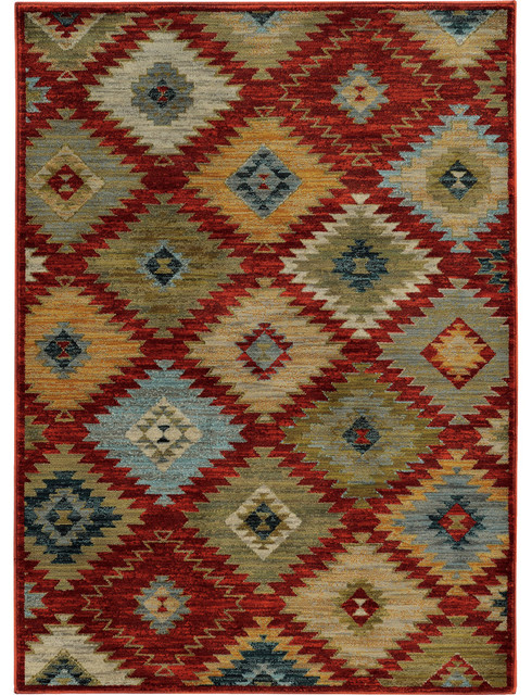 Rufus Avalon Tribal Rug, Red And Multi, 5&x27;3x7&x27;6.