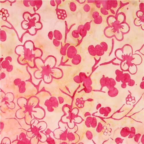 yellow pink Cherry Blossom Batik fabric by Timeless Treasures