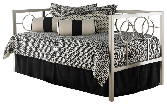 Astoria Complete Metal Daybed With Link Spring And Trundle Bed Pop-Up Frame.