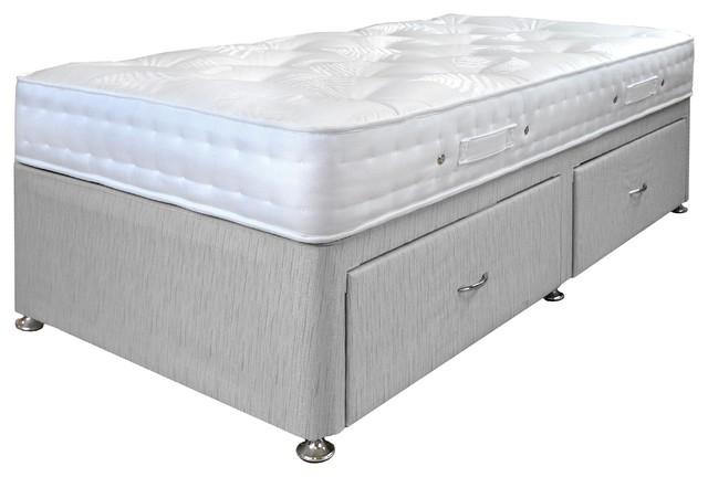 Aria Damask Mattress and 2-Drawer Platform Divan Bed Set, Grey, Single