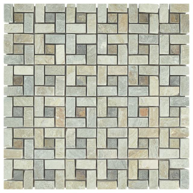 Somertile 12x12 Ridge Spiral Stone Mosaic Floor And Wall Tile