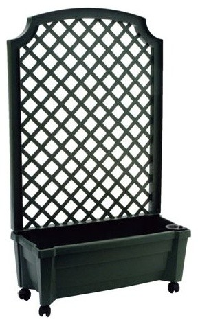 Plastic Planter Box With Trellis Transitional Outdoor Pots And Planters By Amt Home Decor