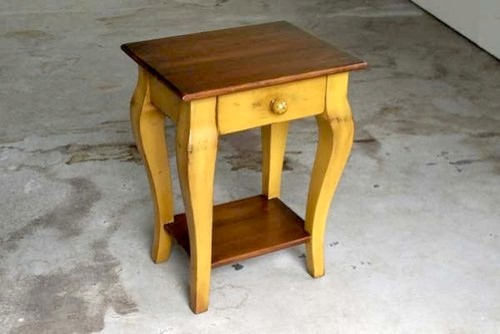 small side table small yellow end table from reclaimed barn wood 28488